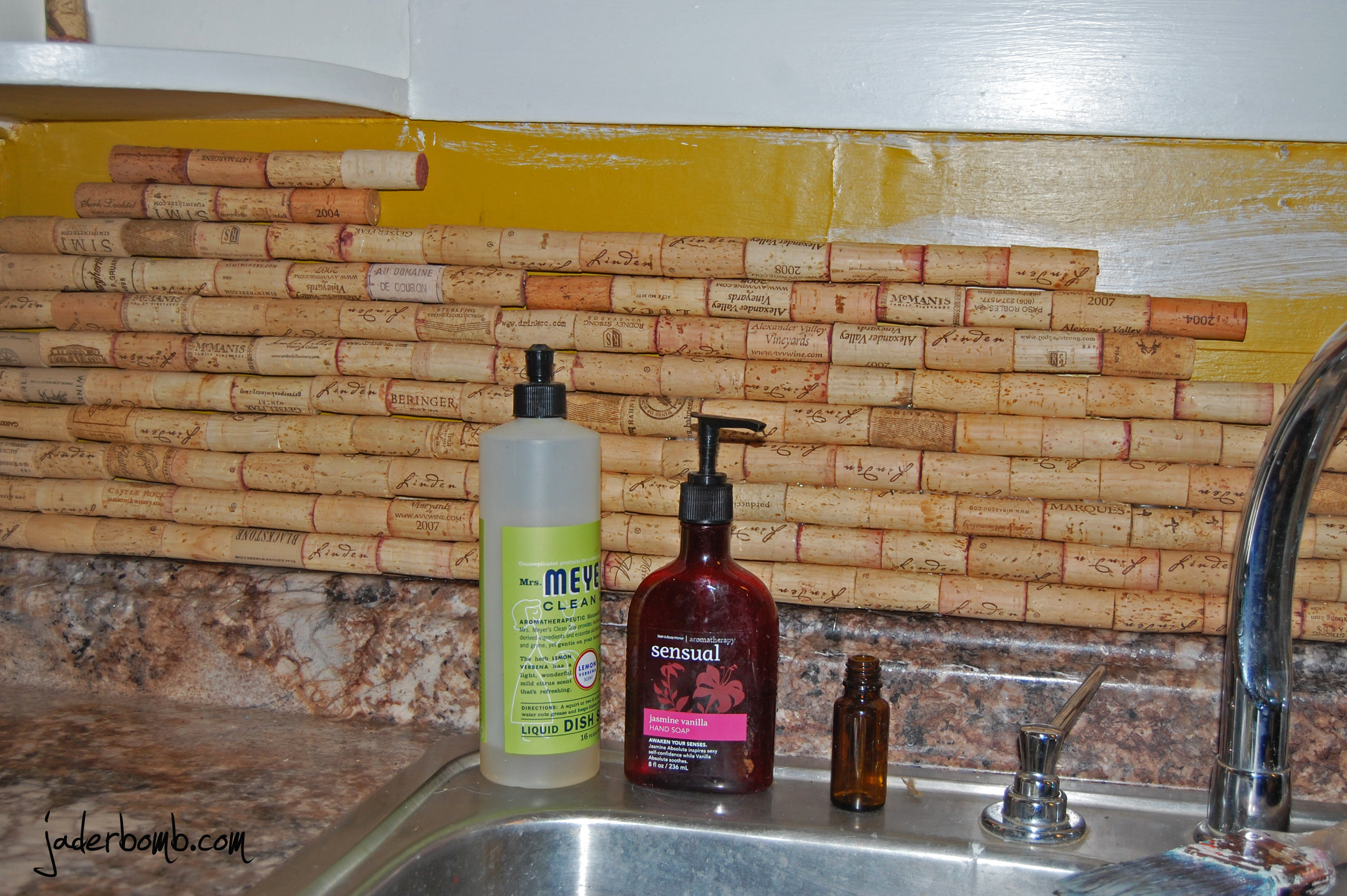 Beautiful Wine Cork Backsplash Part - 8: So You Will Glue 4 Together. Put A Long Line Of Hot Glue On The Back Of All  4. Then Stick It On Your Wall. I Started From The Bottom And Made ...