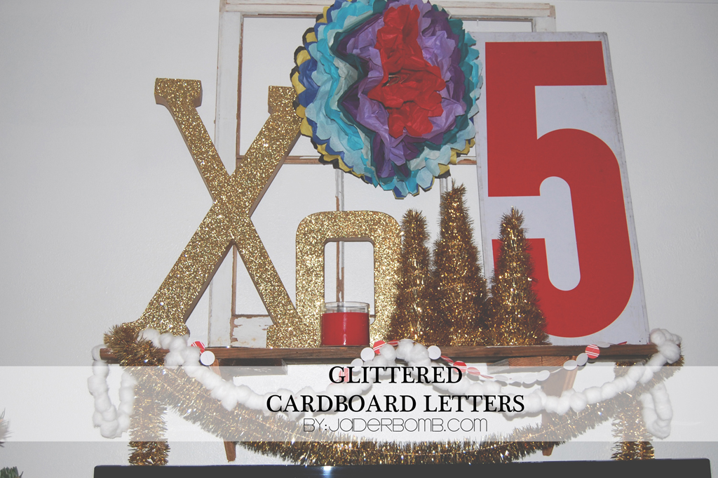 Glittered cardboard letters tutorial jaderbomb for Glitter cardboard letters
