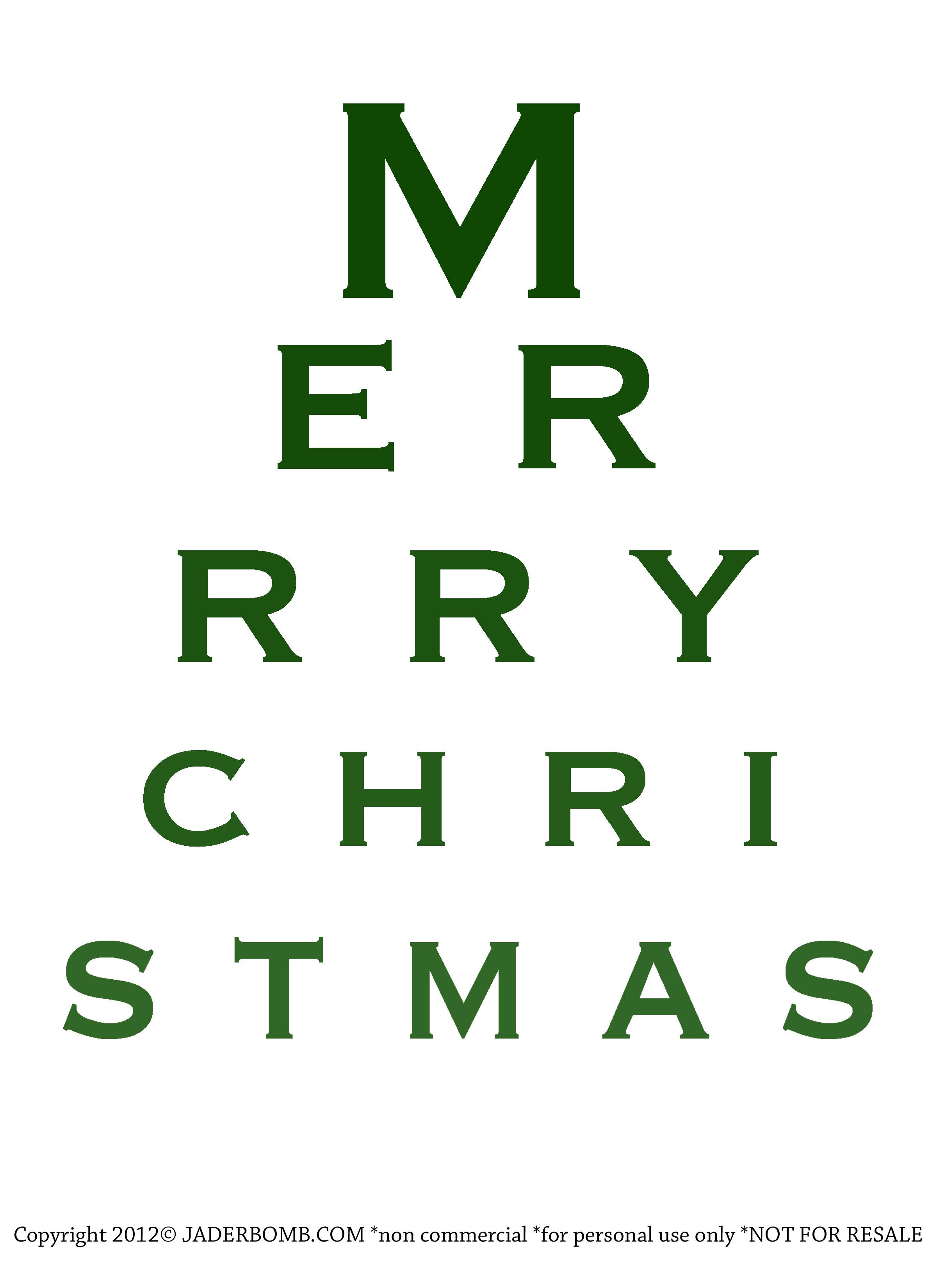 free christmas eye chart printable jaderbomb