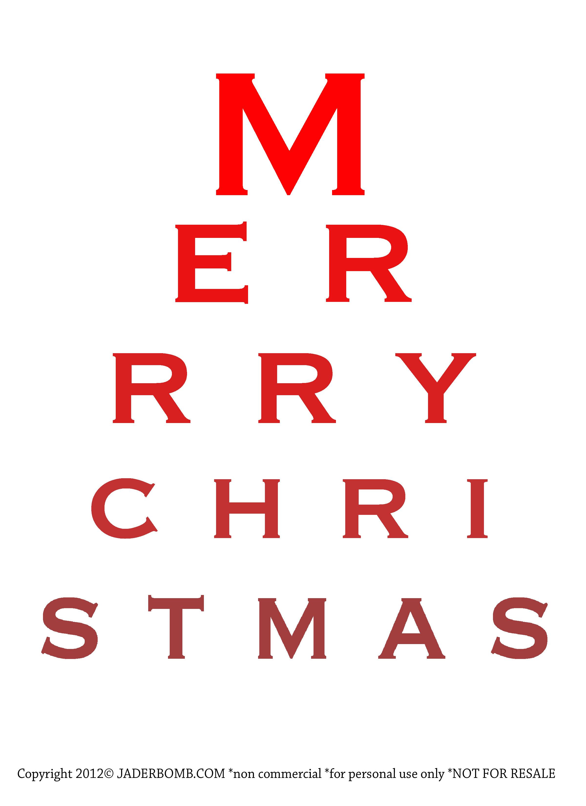 Free christmas eye chart printable jaderbomb click here to download the green christmas pdf nvjuhfo Choice Image