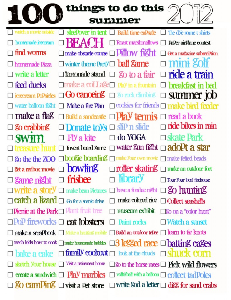 100 things to do this SUMMER PDF