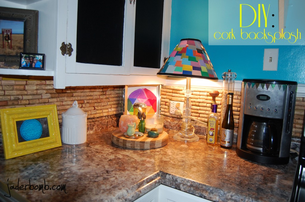 How to make a cork backsplash for your kitchen: jaderbomb