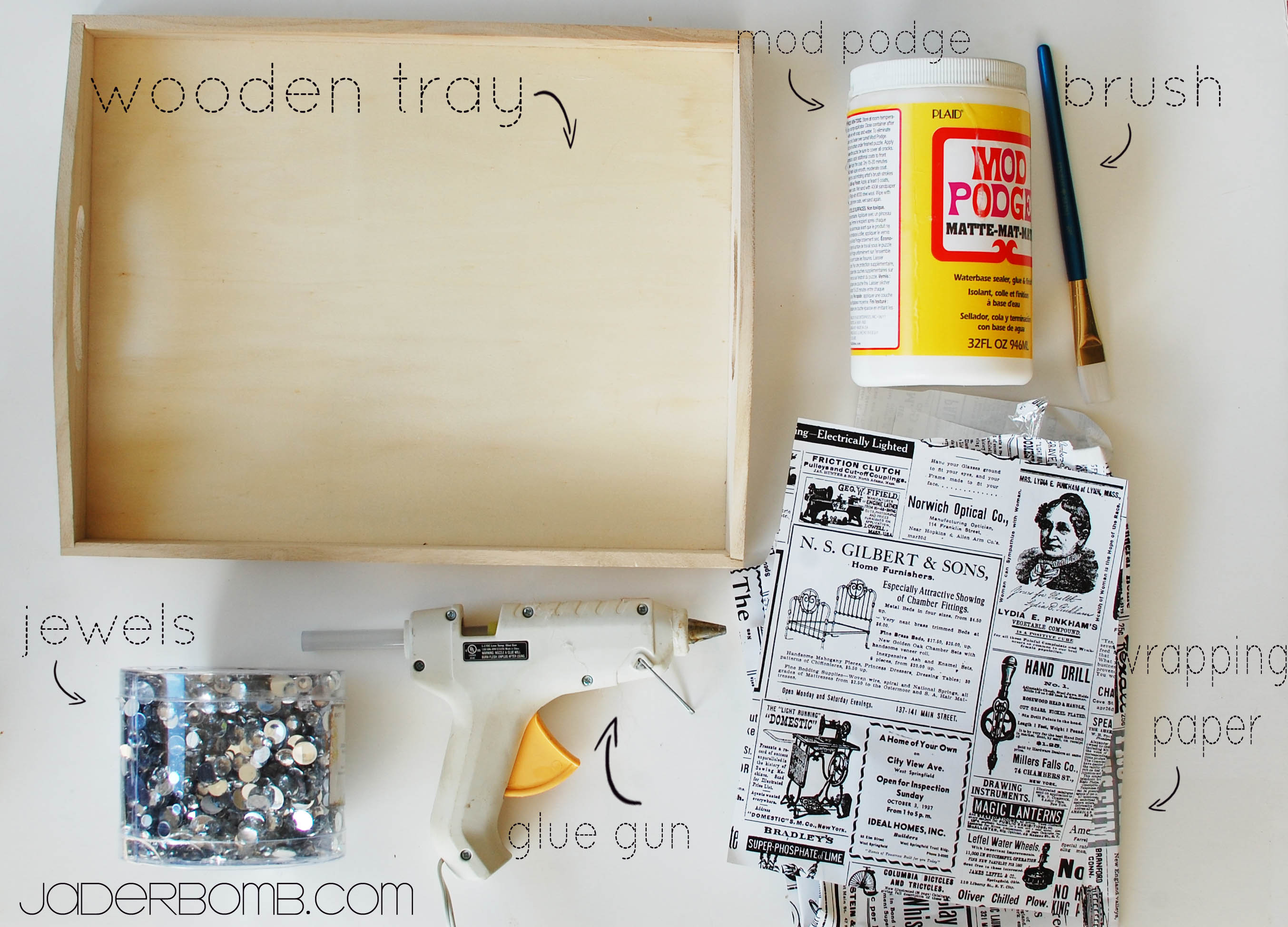How To Decoupage a Wooden Tray , JADERBOMB