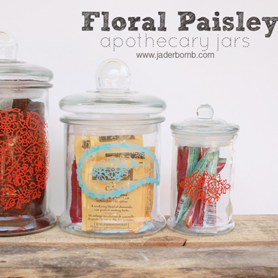 apothecary jars- martha stewart- silk screen