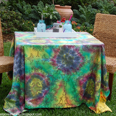 tie dyed table cloth