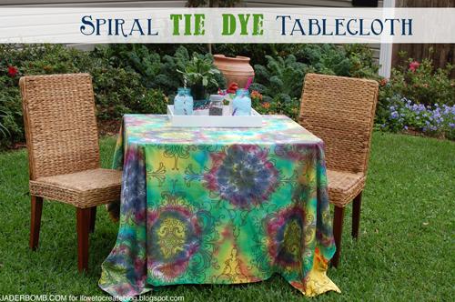 spiral tie dye tablecloth