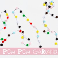 how to make a garland using pompoms