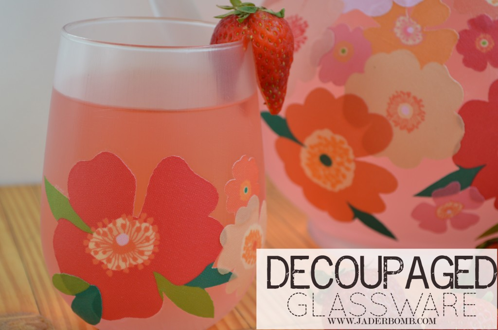 decoupaged glass that is dishwasher safe