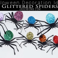 Halloween Decoration Ideas GLITTERED SPIDERS