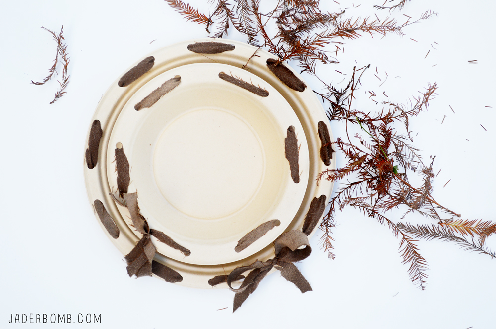 Decorative Paper Plates with fabric decor