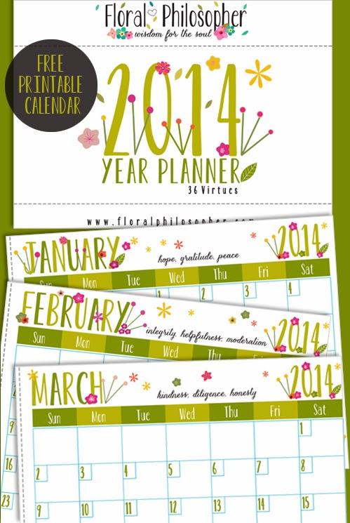 Free 2014 printable calendar