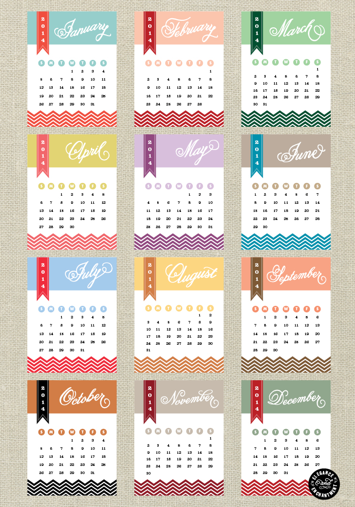 Free yearly calendar 2014