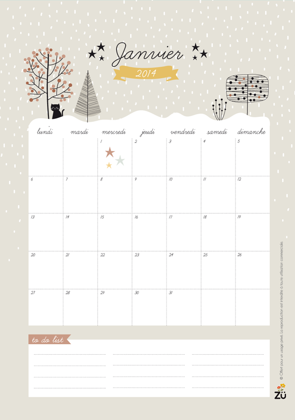 Nature printable calendar