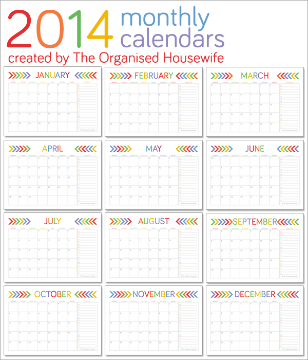The-Organised-Housewife-2014-Monthly-Calendars-+-To-Do-List