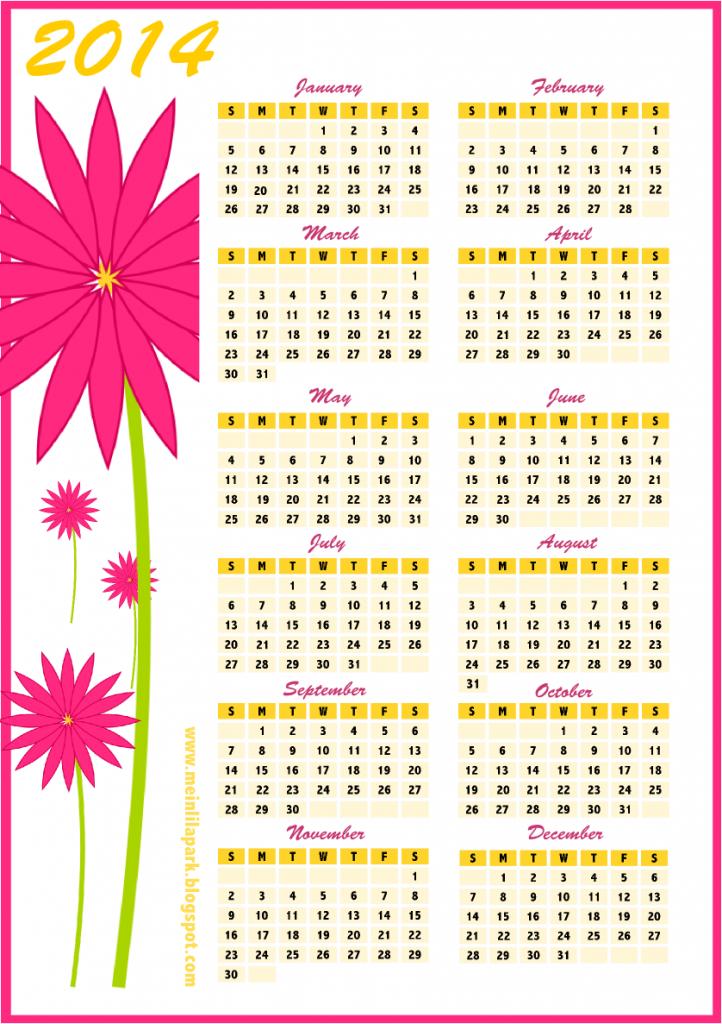 flower calendar 2014