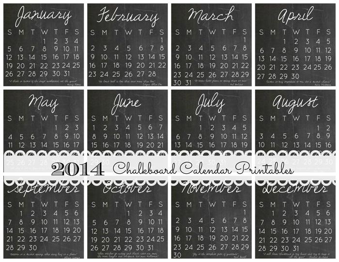 free chalkboard calendar