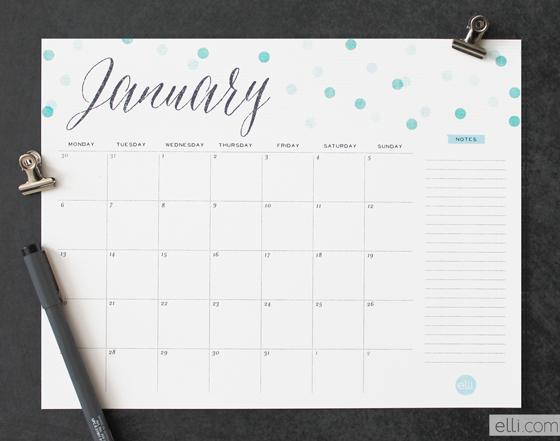 free confetti calendar