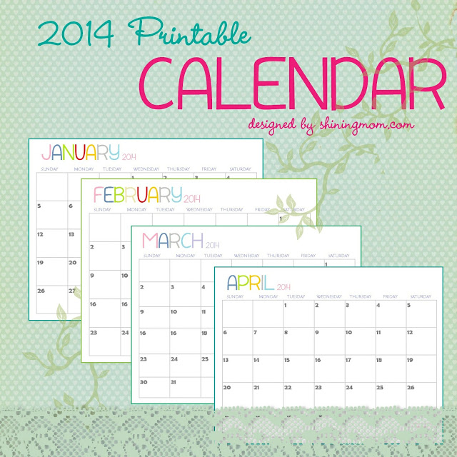 20 free printable calendars 2014 jaderbomb for Fillable calendar template 2014