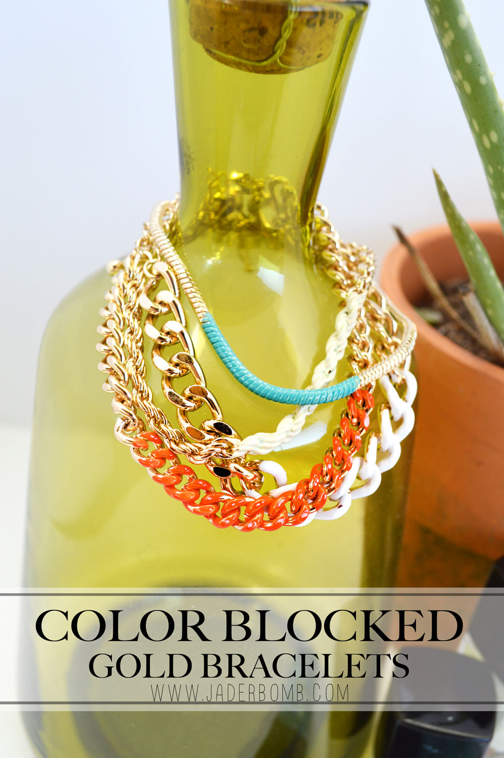 Color Blocked Gold Bracelets