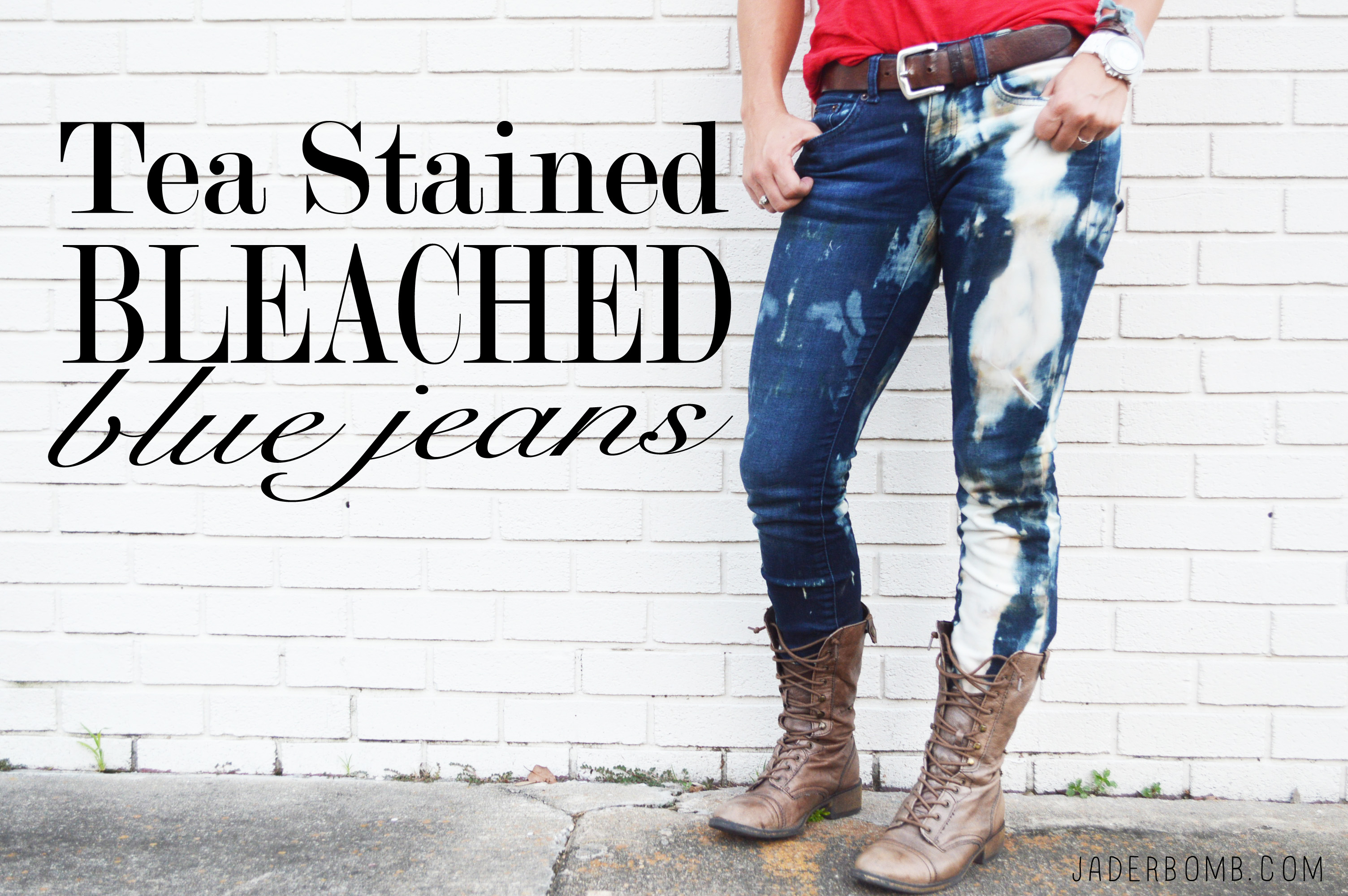 tea stained blue jeans diy