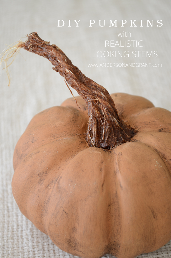 DIY Pumpkins with Realistic Looking Stems from Anderson and Grant