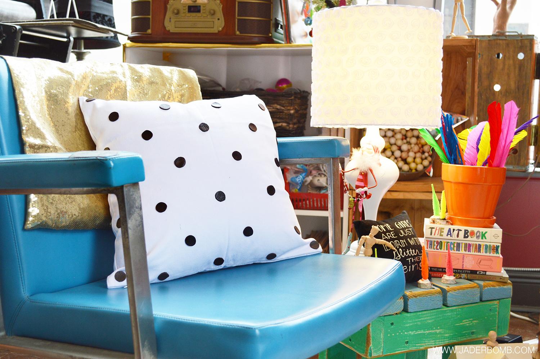 leather polka dot pillow