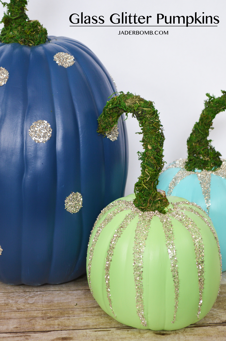 glass glitter pumpkins