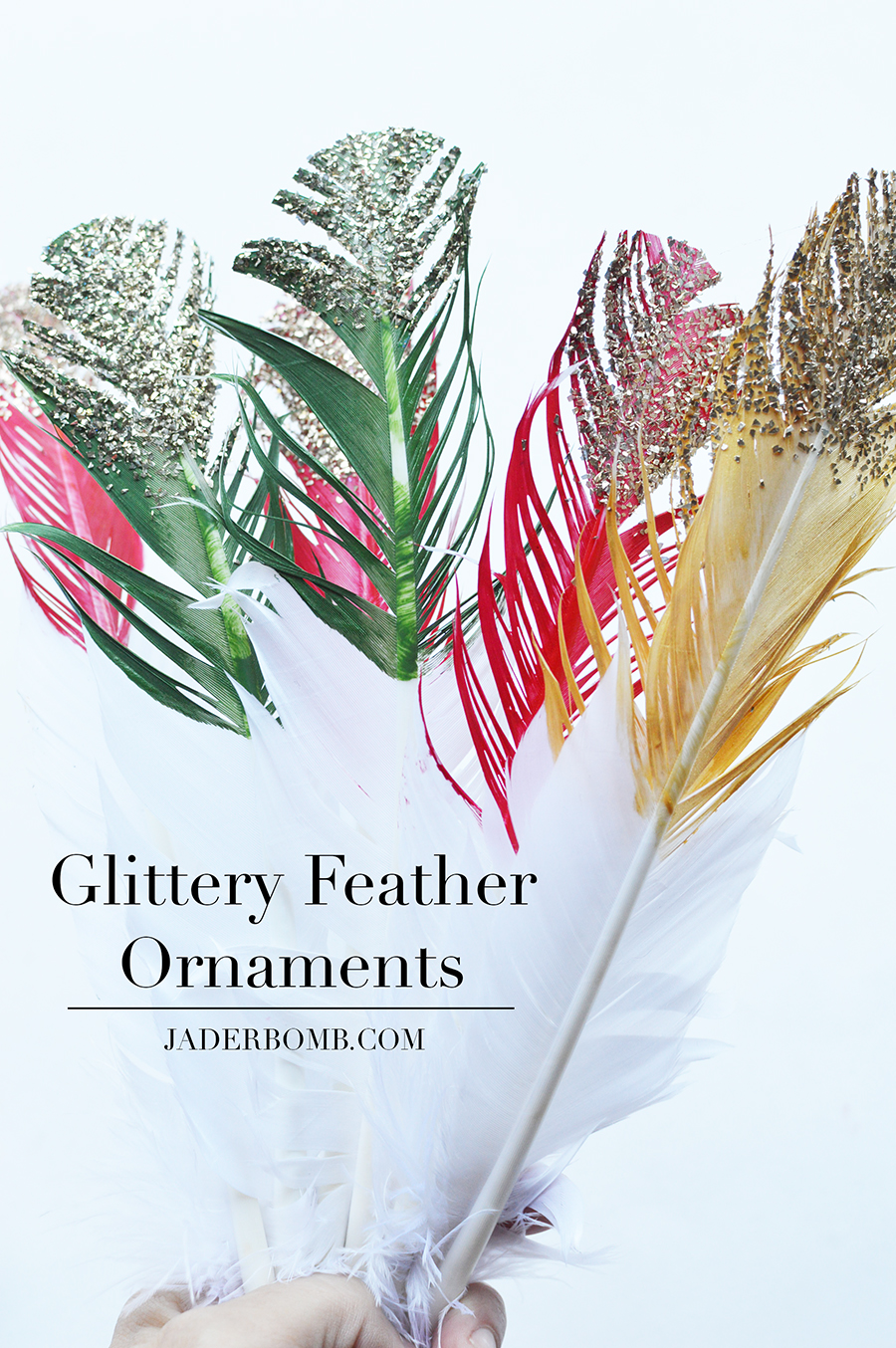 glittery feather ornaments