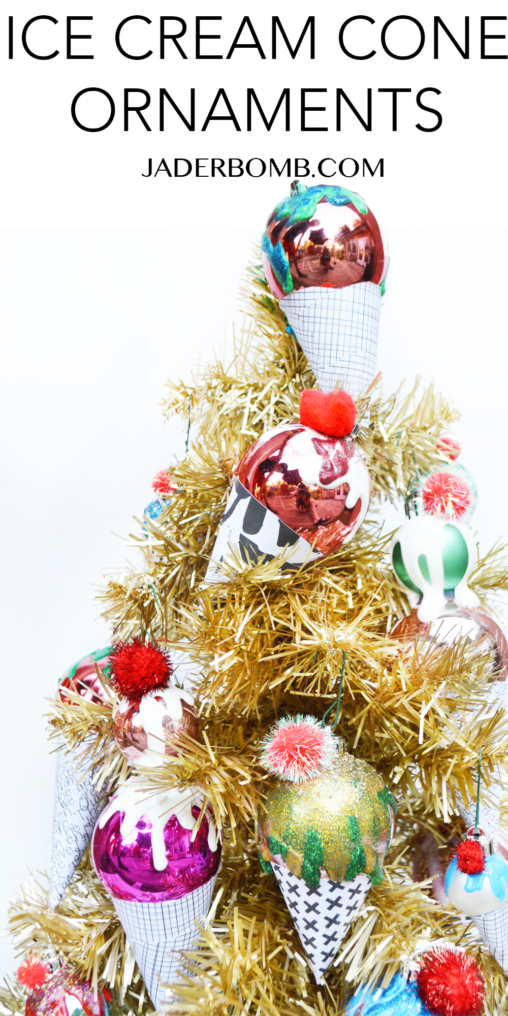 Ice Cream Cone Christmas Ornaments - DIY