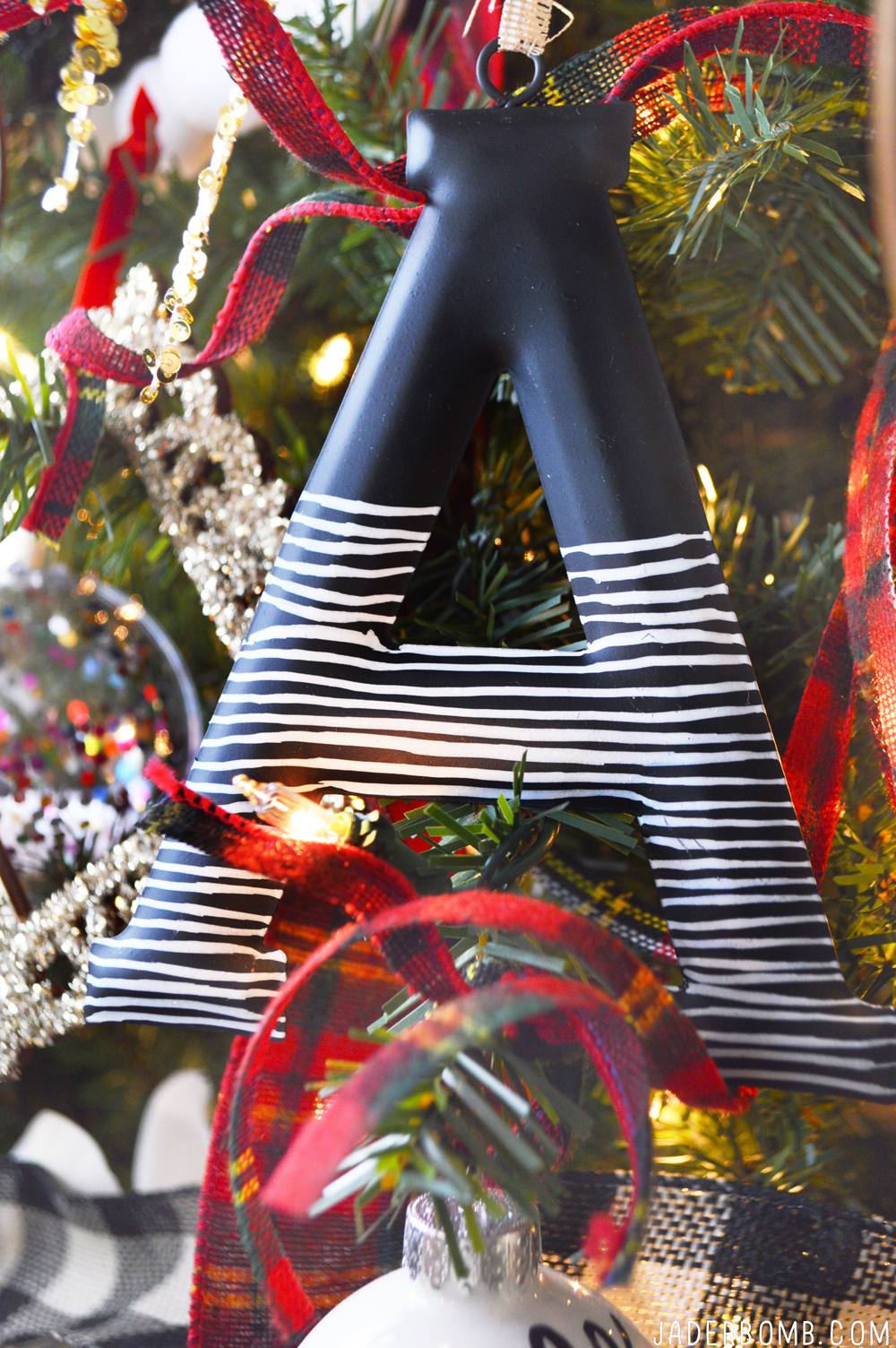 striped letters christmas tree