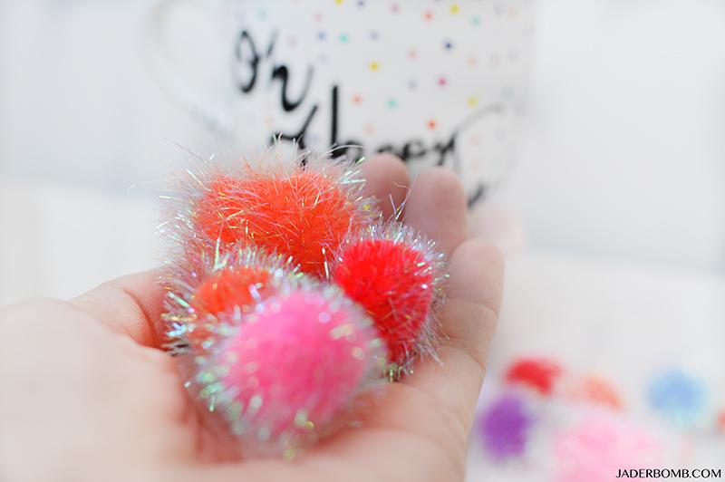 colored pom poms