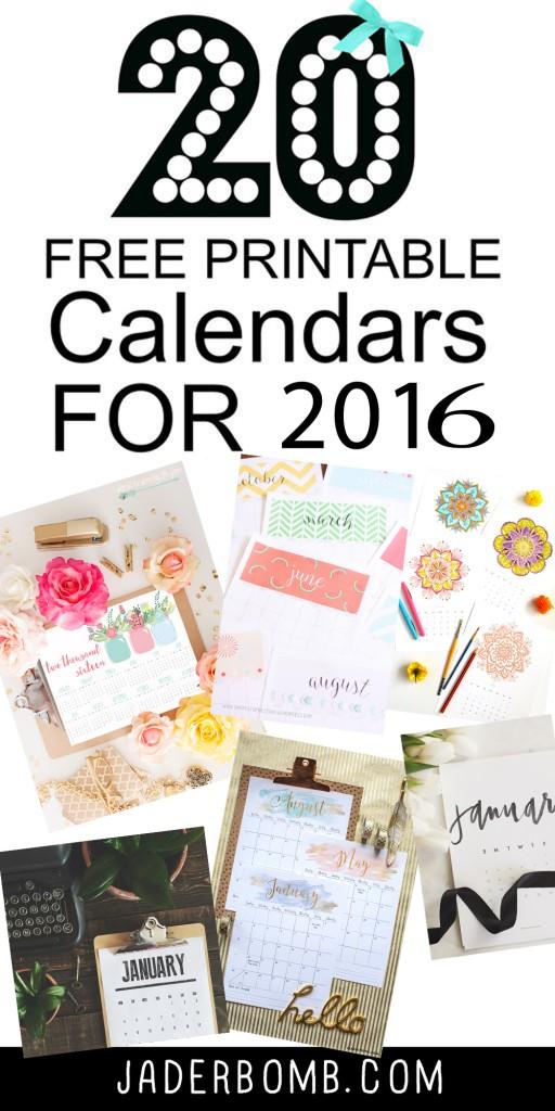 20 free printable calendars 2016