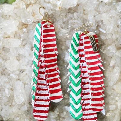 Christmas Boho Leather Earrings